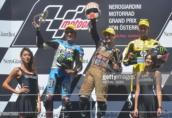 Celebrating on the podium with Morbidelli and Rins - Getty Images