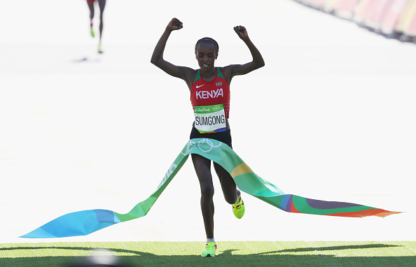 Jemima Jelagat Sumgong made history by becoming Kenya's first woman Olympic gold medalist in the marathon.Photo:Getty/Alexander Hassenstein