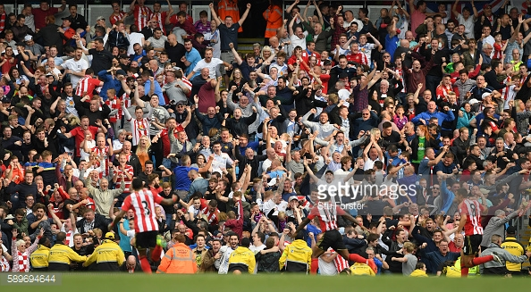 Above: Sunderland fans celebrating Jermain Defoe's goal in their 2-1 defeat to Manchester City | Photo: Getty Images