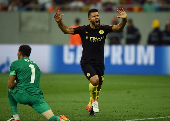 Above: Sergio Aguero celebrating one of his three goals in Manchester City's 5-0 win over Steaua Bucharest | Photo: Getty Images