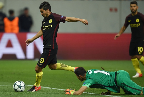 Above: Nolito firing home in Manchester City's 5-0 win over Steaua Bucharest | Photo: Getty Images