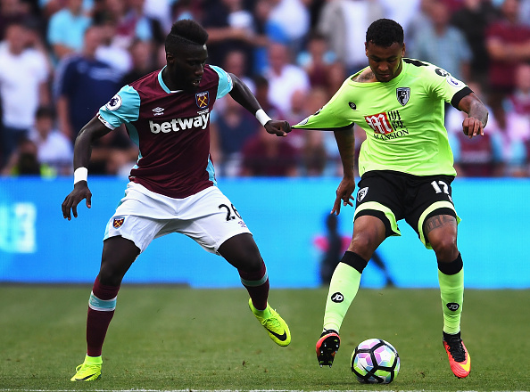 Above: Arthur Masuaku in action during West Ham's 1-0 win over Bournemouth | Photo; Getty Images