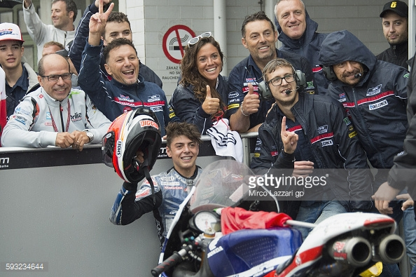 Di Giannantonio celebrating with the Gresini Team in parc ferme - Getty Images
