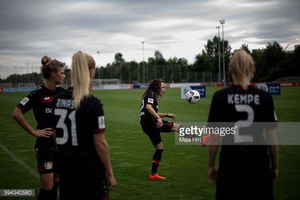 The Leverkusen ladies warming up. Photo: Maja Hitij/getty