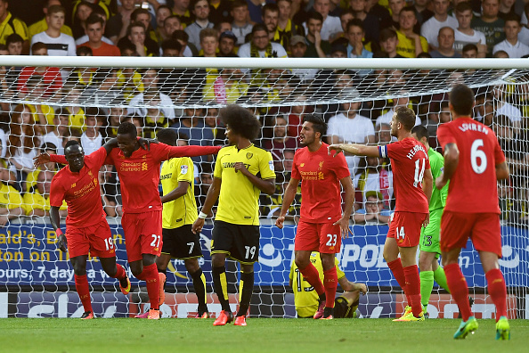 Above: Divock Origi celebrating his opening goal in Liverpool's 5-0 win over Burton Albion | Photo: Getty Images