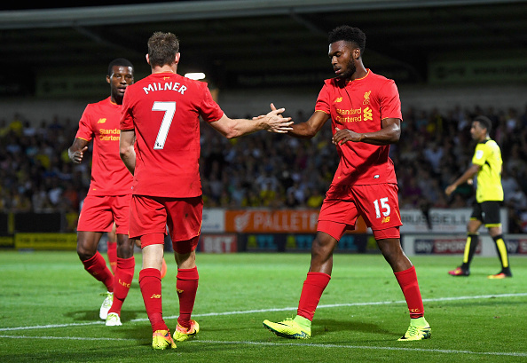 Above: Daniel Sturridge celebrating one of his two goals in Liverpool's 5-0 win over Burton Albion | Photo: Getty Images