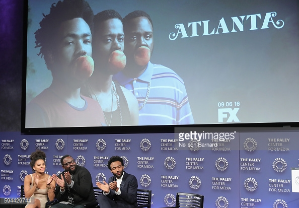 Donald Glover speaking onstage at the 'Atlanta' New York Screening. Photo: Getty / Neilson Barnard
