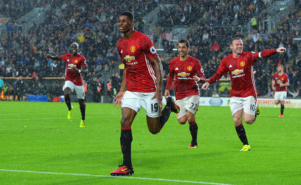 Above: Marcus Rashford celebrating his winning goal in Manchester United's 1-0 win over Hull City | Photo: Getty Images