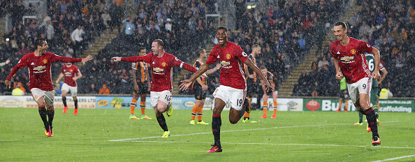 Wayne Rooney celebrating Marcus Rashford's winner in Manchester United's 1-0 win over Hull City | Photo: Getty Images