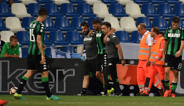 Berardi had to be helped off the pitch | Photo: Pier Marco Tacca/Getty Images