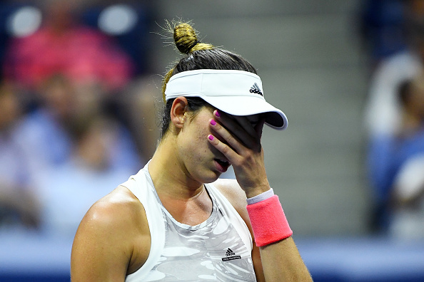 Garbiñe Muguruza during her match against Anastasija Sevastova at the US Open. Photo: Getty Images/Alex Goodlett