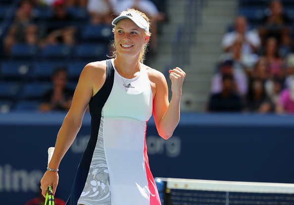 Caroline Wozniacki celebrates winning her third round match at the US Open in 2016. Photo: Getty Images/Mike Stobe