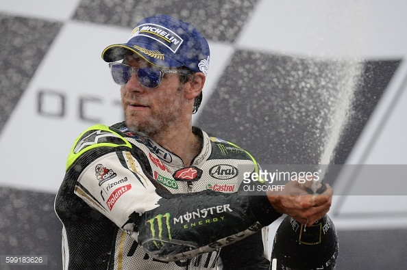 Crutchlow celebrating second on the podium in front of his home fans at Silverstone - Getty Images