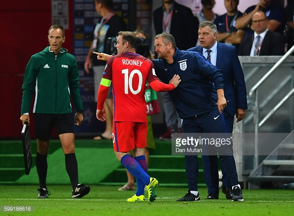 Above: Wayne Rooney and Sam Allardyce during England's 1-0 win over Slovakia | Photo: Getty Images