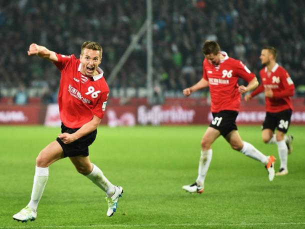 Artur Sobiech's goal sealed the win for Hannover. | Image: Kicker - Getty Images