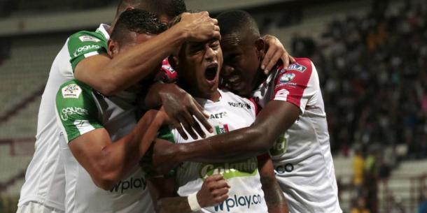 Yesus Cabrera celebrando el gol de la victoria en la primera fecha. Foto: Jonh Jairo Bonilla.