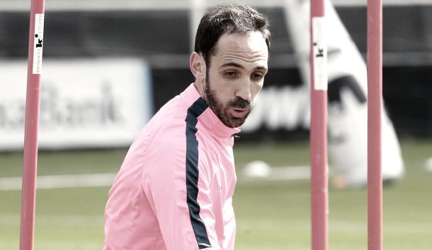 Juanfran durante un entrenamiento // Foto: atleticodemadrid.com
