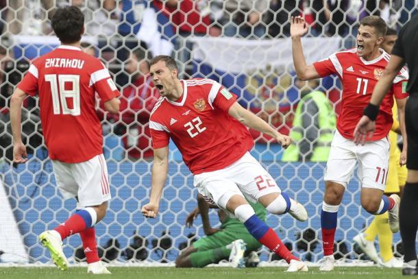 Dzyuba puso el 3-0 de cabeza | Foto: RFS.ru