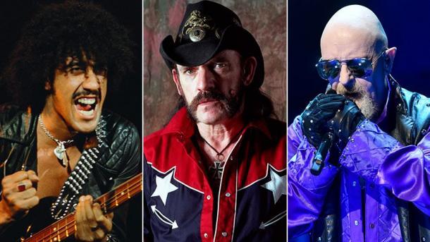 Phil Lynott de Thin Lizzy, Lemmy Kilmister de Mötorhead y Rob Halford de Judas Priest  | Foto: R&RHOF