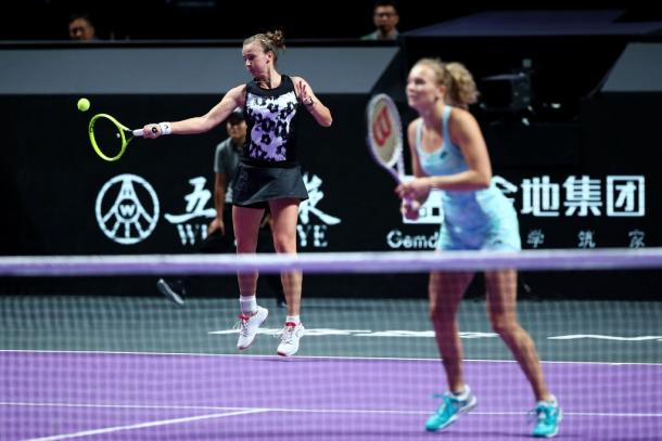 Krejcikova and Siniakova in action   Photo: Clive Brunskill