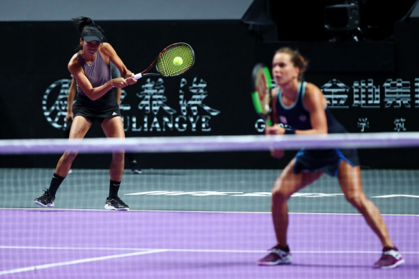 Hsieh and Strycova in action | Photo: Clive Brunskill