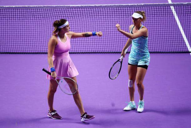 Mertens and Sabalenka had a great year in doubles | Photo: Clive Brunskill