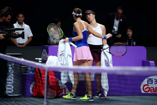 Svitolina and Bencic share a nice hug after the match | Photo: Clive Brunskill