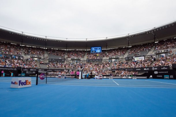 Ken Rosewall Arena, the main court at Sydney Olympic Park, which hosted the Sydney International until 2019. Photo: Steven Markham/Getty Images.