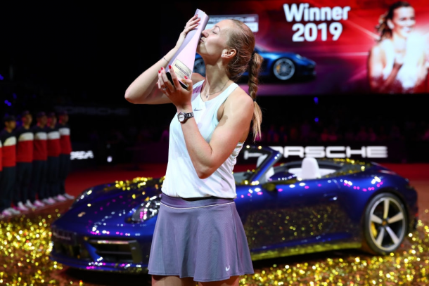 Kvitova won her second title of the year in Stuttgart, becoming the first player to win multiple titles this year. Photo: Alex Grimm/Getty Images.
