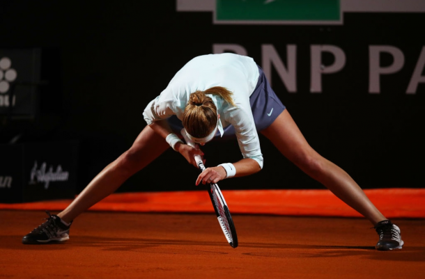 Kvitova at the Italian Open in Rome where a thigh injury forced her to retire in the third round. Photo: Clive Brunskill/Getty Images.