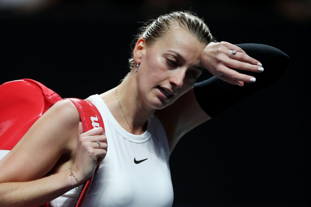 Kvitova suffered yet another dismal outing at the WTA Finals, failing to score a win in the group stage. Photo: Matthew Stockman/Getty Images.