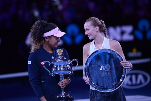 At the Australian Open, Kvitova (left) returned to her first Grand Slam final since winning Wimbledon in 2014, where she finished runner-up to Naomi Osaka. Photo credit: Recep Sakar/Getty Images.