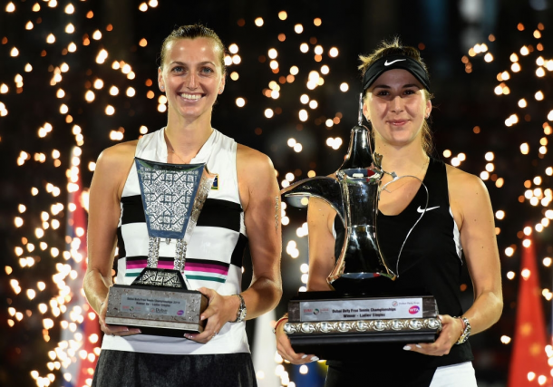 Kvitova made another final after the Australian Open, in Dubai where she was runner-up to Bencic (right). Photo: Tom Dulat/Getty Images.