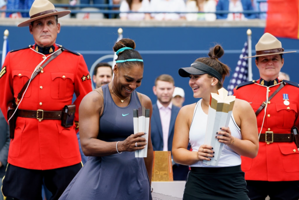 The Rogers Cup, where Williams was runner-up to Bianca Andreescu (right), is the first tournament outside the Grand Slams since her comeback where she made the final. Photo: