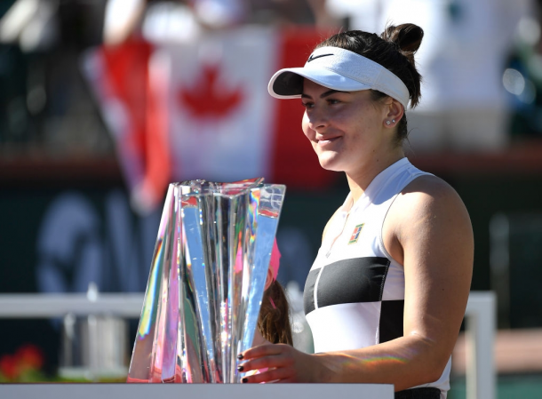Bianca Andreescu won her first WTA title at the BNP Paribas Open, where she came into the main draw as a 60th-ranked wildcard | Photo: Kevork Djansezian