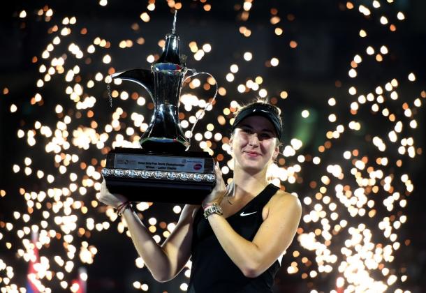 Belinda Bencic lifted her second career Premier 5 title at Dubai | Photo: Tom Dulat