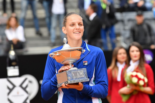 In Rome, Pliskova soared to the equal-biggest title of her career, her third overall on clay. Photo: Claudio Pasquazi/Getty Images.