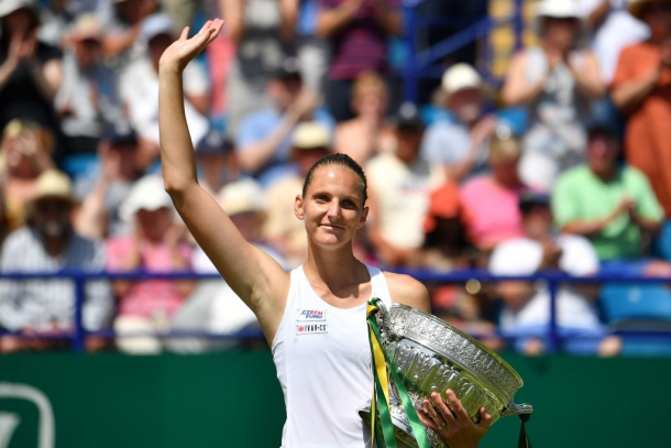 Pliskova completed the sweep of titles across all surfaces in 2019 when she claimed her second title in Eastbourne. Photo: Ben Stansall/Getty Images.