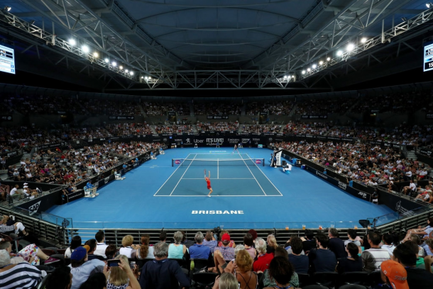 Interior of Pat Rafter Arena at the Queensland Tennis Centre, the venue's largest stadium. Photo: Chris Hyde/Getty Images.