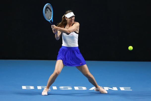 Maria Sharapova in action at the Brisbane International | Photo: Chris Hyde