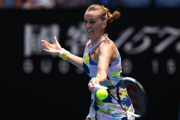 Petra Kvitova found her groove towards the end of the second set | Photo: Cameron Spencer