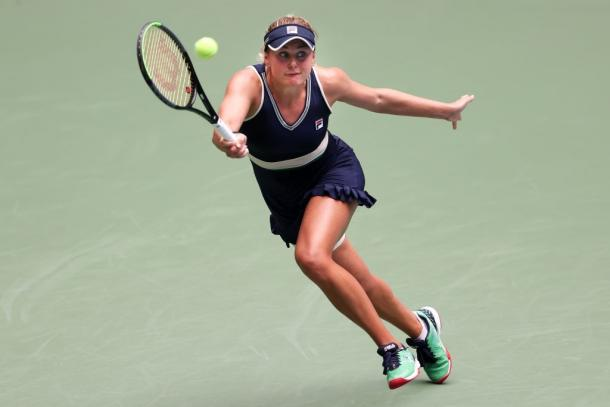 Kozlova made a good show of herself, making her opponent work hard to secure the first set. Photo: Al Bello/Getty Images