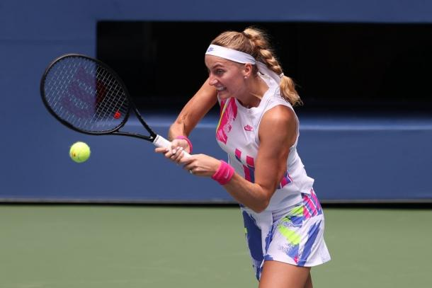 It was day of opposites for Kvitova as she put behind a slow start to sail to victory comfortably. Photo: Al Bello/Getty Images.