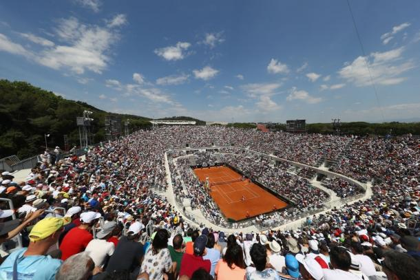 Panorama of Centrale, the largest arena of Foro Italico's tennis facility, during the 2017 edition of the tournament. Photo: Michael Steele