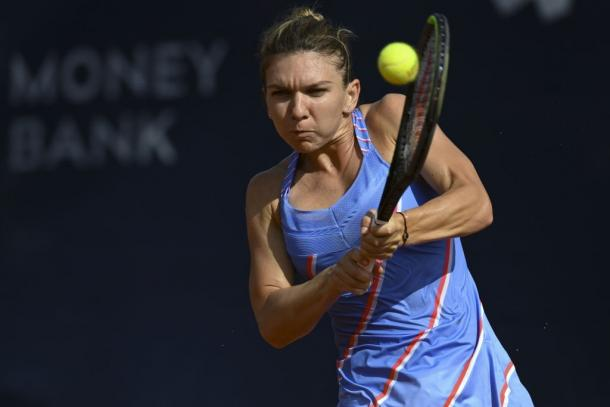 Halep in action at the Prague tournament last month where she picked up her second title of the year. Photo: Martin Sidorjak