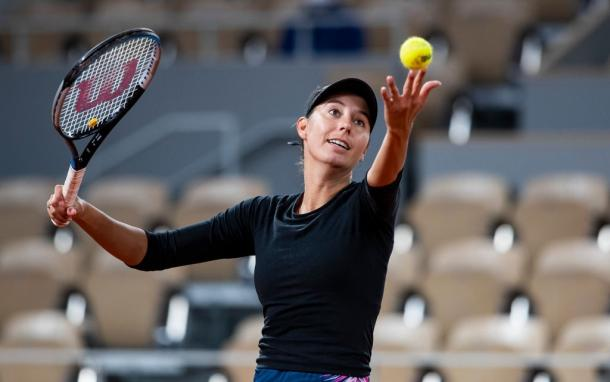 Dodin was unable to do much damage on the Kvitova serve in the match despite breaking the Czech's serve once. Photo: TPN