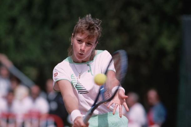 Maleeva at the French Open in 1989 where she made her third of four total quarterfinal showings in Paris. Photo: Dimitri Iundt