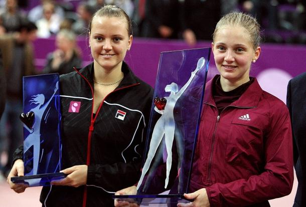 Chakvetadze (right) and runner-up Agnes Szavay (left) after winning the title at the Paris indoors event in 2008, her first and biggest title since 2007. Photo: Patrik Kovarik