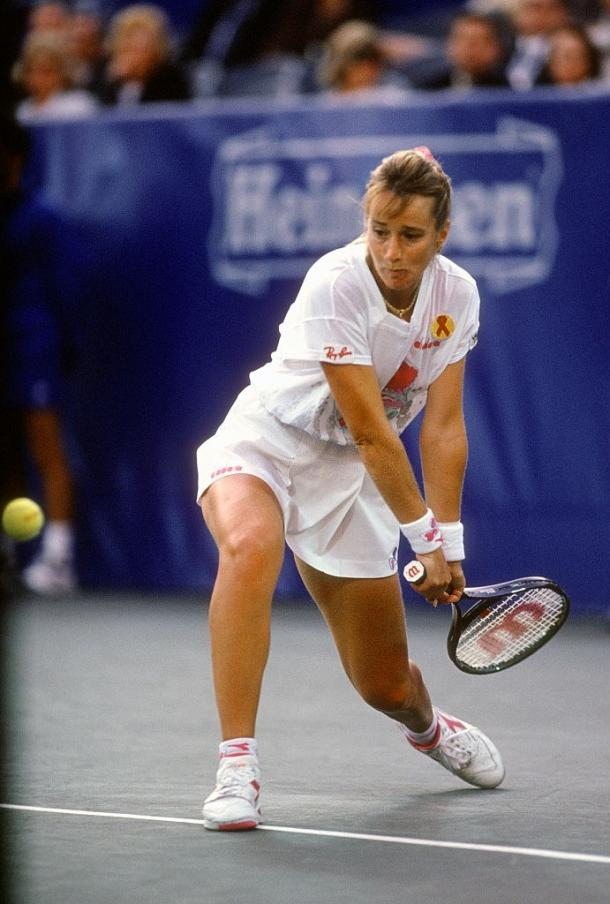 Maleeva accidentally broke a finger while in competition at the 1993 US Open but defied all odds as she went on to defend her semifinal result from 12 months ago. Photo: Focus On Sport