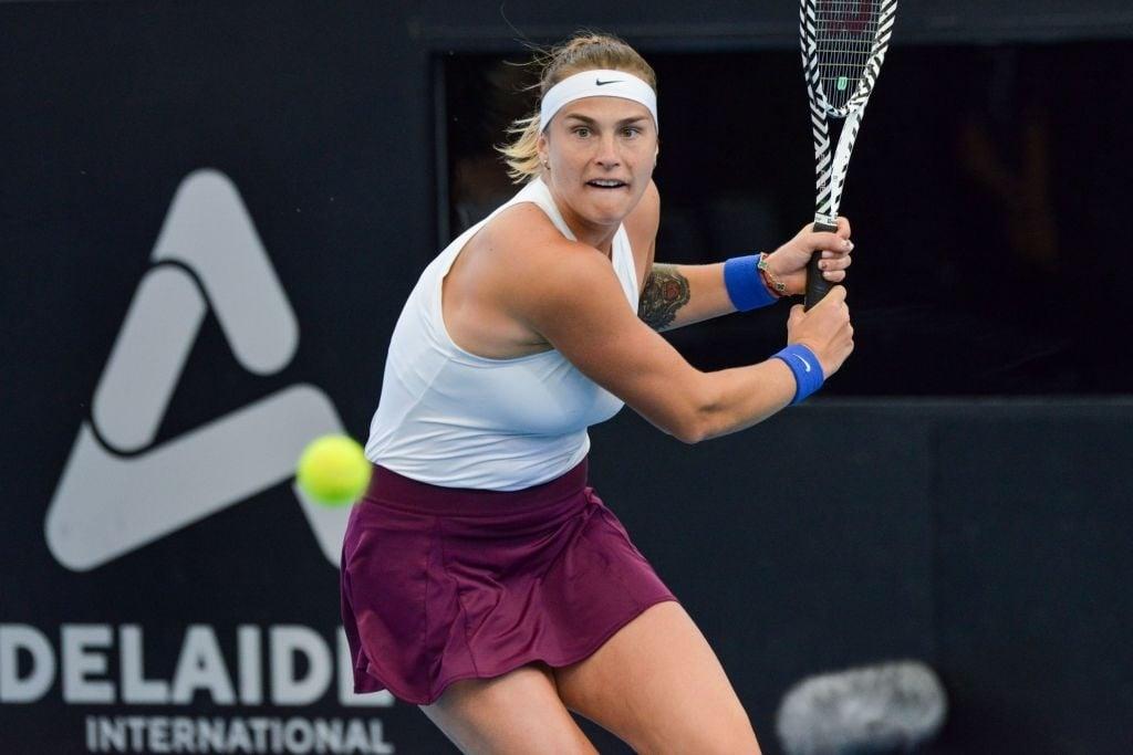 Sabalenka in action at the Adelaide International earlier this year. Photo: Brenton Edwards